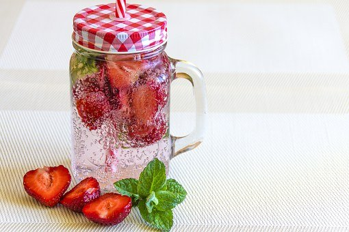 Mineral Water With Strawberries, Strawberry, Ice, Drink