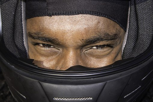 Young Black Man, African American, Driver, Helmet