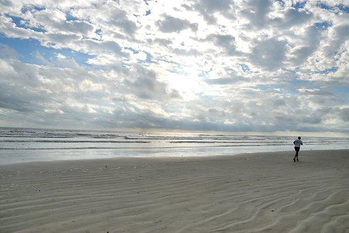 Beach, Person, Jogging, Exercise, Florida, Sand