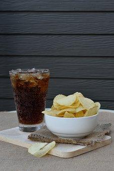 Chip, Cola, Food, Potato, Drink, Table, Eating