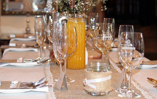 Wedding Table, Glasses, Plate, Cutlery, Prepare