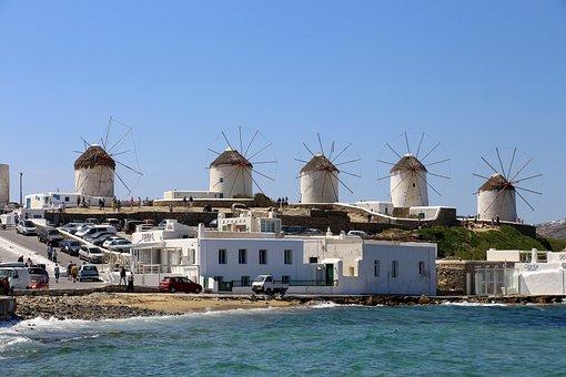 Mykonos, Greece, Windmills, Sea, Greek Island, White
