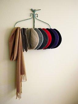Scarf, Cap, Vintage, Hanger, Wall, Fashion