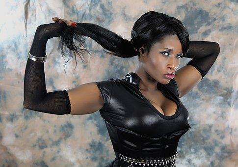 Hair, Leather, Fashion, Female, Sexy, Posing, Lady