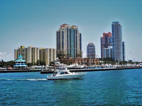 Miami Beach Marina, Florida, Maritime, Skyline