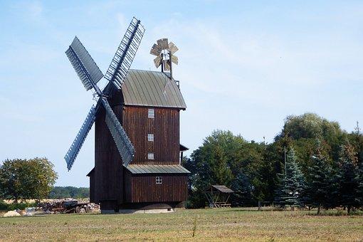 Windmill, Trees, Meadow, Mill, Pinwheel, Mill Wing