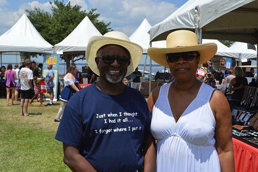 African American, People, Senior, Couple, Festival