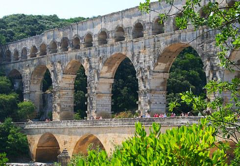 Aqueduct, Pont Du Gard, France, Yellow, Roman, Historic