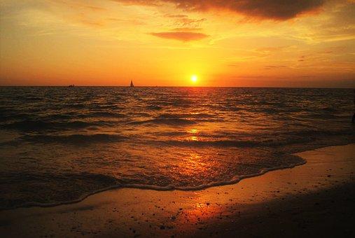 Florida, Sunset, Sea, Beach, Romance, Evening Sky