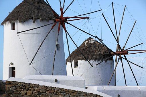 Greece, Windmills, Mykonos, Sea, Greek Island