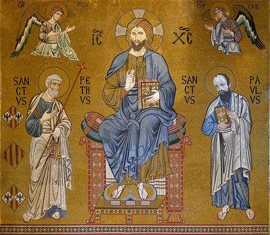 Sicily, Palatine Chapel, Mosaic, Christ, œuvre Of Art