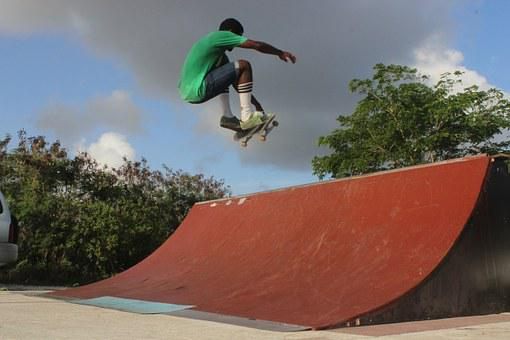 Skateboarder, African American, Sports, Action