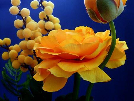 Artificial Flowers, Ranunculus, Yellow, Spring, Blossom