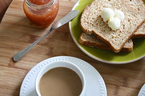 Breakfast, Butter, Sprouted Bread, Toast, Sweet, Drink