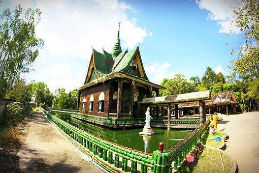 Thailand, Decoration, Green, Craft, Brown, Wat, Line