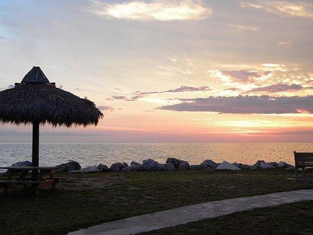 Tiki Hut At Sunset, Florida Keys, Ocean, Beach Sunset