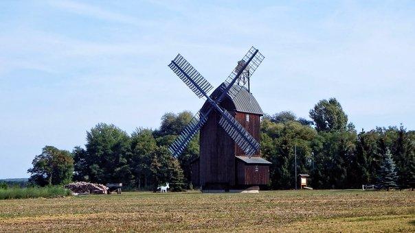 Windmill, Mill, Trees, Windräder, Wing, Brandenburg