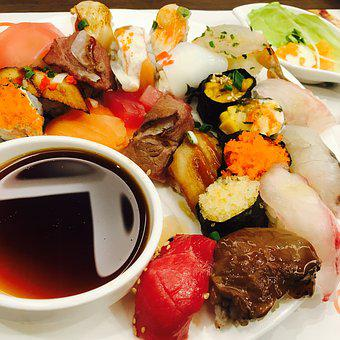 Sushi, Japanese, Time, Fish, Soy Sauce, Food, Buffet