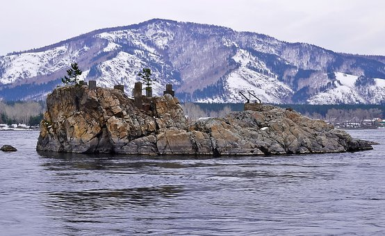 Mountain, Nature, Island, Object, Snow, Rock, River