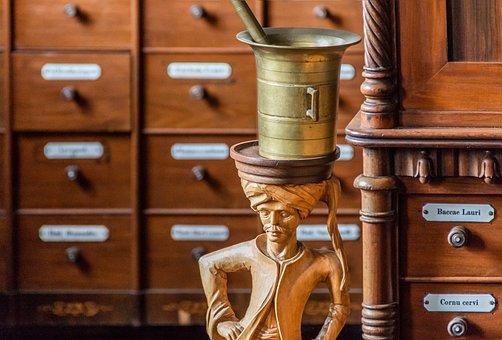 Pharmacy, Drawers, Wood, Cabinet, Knauf, Old