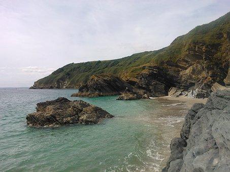 Lantic Bay, Cornwall, Beach, Rock, Water, Ocean, Waves