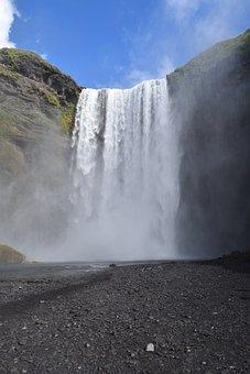Waterfall, Iceland, Skogafoss, Blue Waterfall