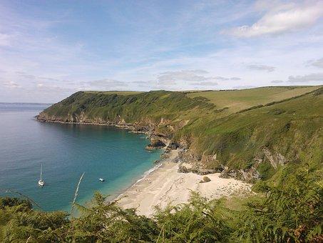 Beach, Coast, Water, Calm, Blue, Summer, Cornwall