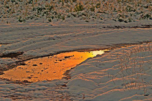 Winter, Snow, Afterglow, Wintry, Ice, Puddle, Frozen