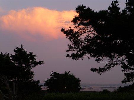 Brittany, Landscape, Clouds, Abendstimmung, Springtide