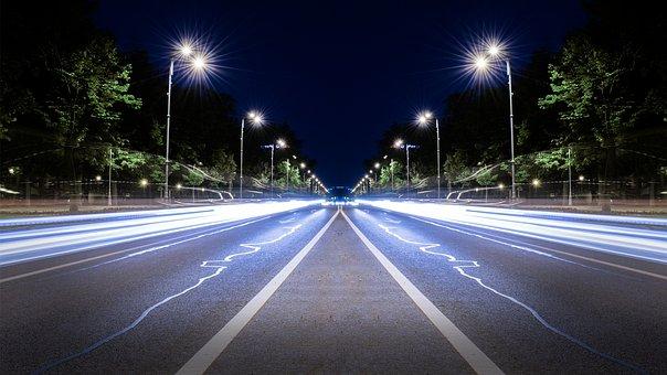 Highway, Long Expossure, Night, Lights, Mirror