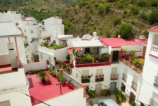 Spain, Andalusia, Tolox, Streets, Terraces