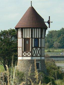 Courseulles, Tower, Landscape, Nature, Green, France