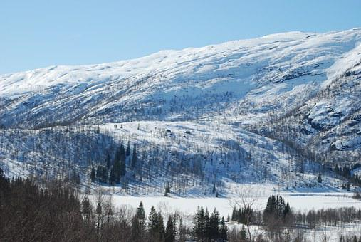 Mountain, Winter, Snow, Modalen, Nature