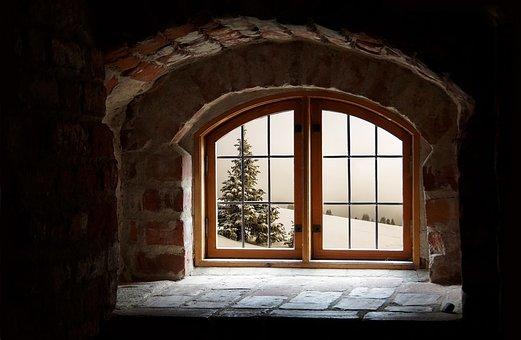 Tree, Attic, Snow, Window, Winter, Recess, Clouds