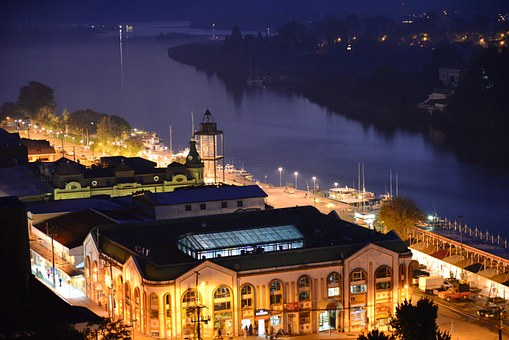 Night, City, River, Valdivia, Brightness, Architecture