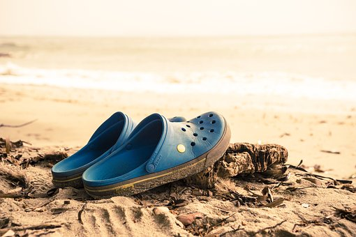Beach, Crogs, Sand, Sea, Holiday, Slippers, Shoes