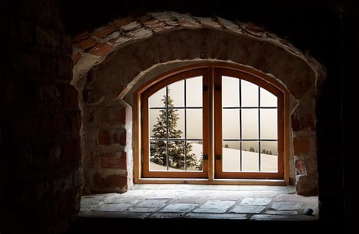Tree, Attic, Snow, Window, Winter, Recess, Clouds