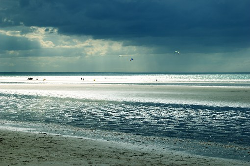 Dauville, Sea, Horizon, Beach, Sand, Clouds, Handle