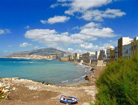 Trapani, Sicily, Bay, Seaside, Beach, Seascape