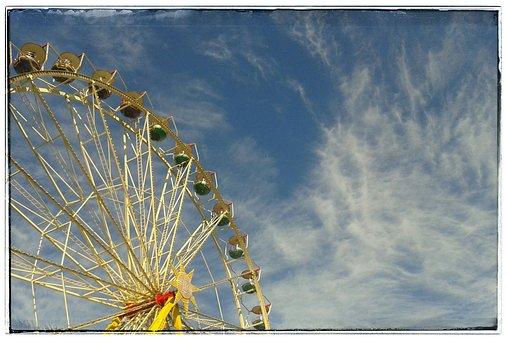 Ferris Wheel, Kirmmes, Ride, Summer Sky, Clouds
