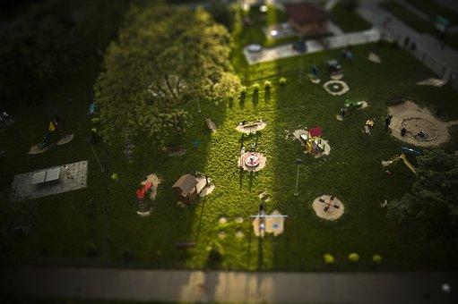 Playground, Warsaw, Tiltsshift, Fun, Play, Game