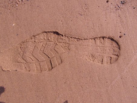 Footprint, Schusohle, Trace, Sand, Beach