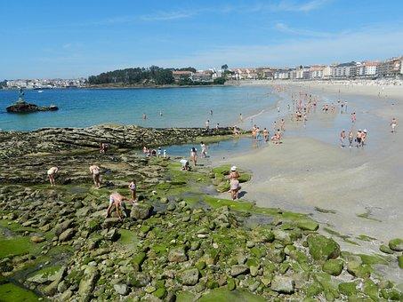 San Xenxo, Beach, Sea, Sand, Stones