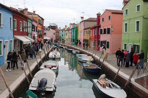Houses, Channel, Burano, Venice, Veneto, Italy, Tourism