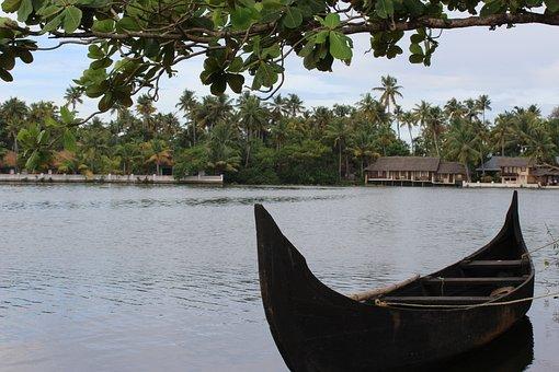 Lake, Boat, Allapey, Water, Rain, India