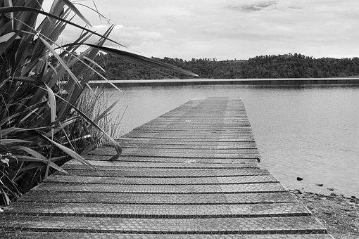 Landscape, Bridge, Lake, Søgras, Black White
