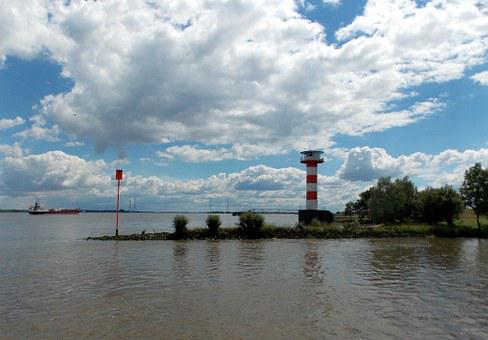 Elbe, River, Lighthouse, Waters, Water, Clouds, Nature