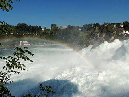 Rainbow, Reinfall, Switzerland, Water, Landscape