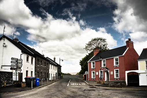 Ireland, Clonbour, Clouds, Building, Road