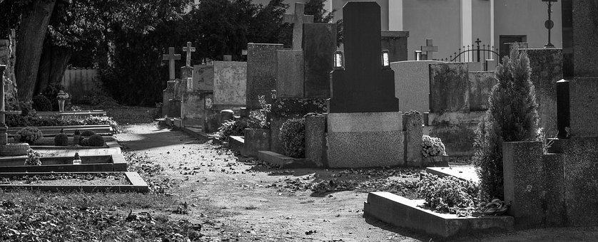 Tombs, The Tombstones, Cemetery, Path, Alley, Still